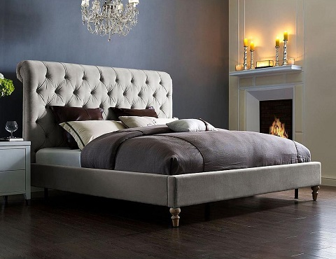 Putnam Grey Velved Queen Bed TOV-B21-Queen from TOV Furniture