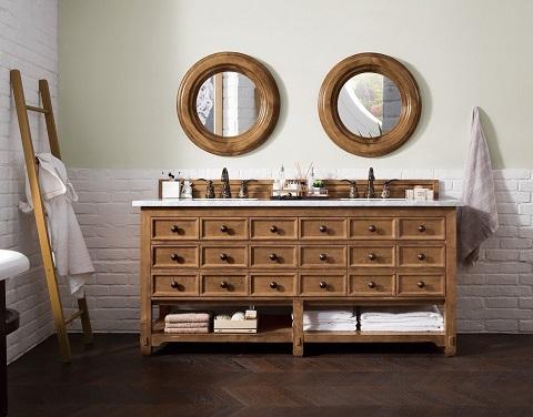 """Malibu 72"""" Double Vanity Cabinet 500-V72-HON-3EJP in Honey Alder from James Martin Furniture"""