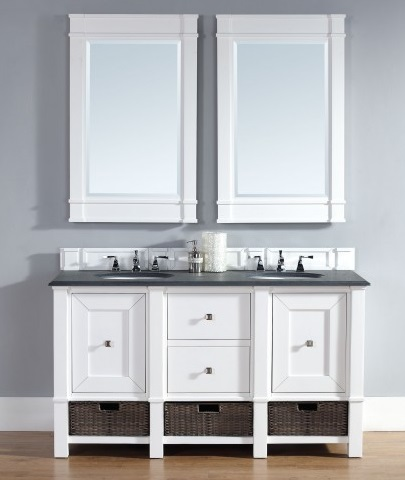 "Madison 60"" Double Bathroom Vanity Cabinet in Cottage White 800-V60D-CWH from James Martin Furniture"