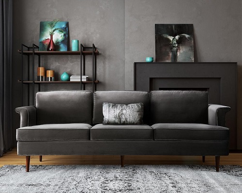 An image of a dark gray three-seat sofa with a simple rectangular design and minimal wooden legs