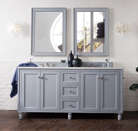 "Copper Cove Encore 72"" Double Bathroom Vanity In Silver Gray 301-V72-SL from James Martin Furniture"