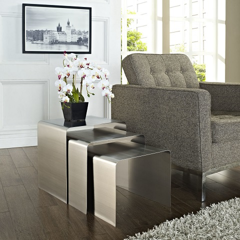 Rush Silver Nesting Tables EEI-286-SLV from Modway Furniture