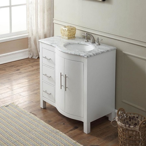 """36"""" Single Right Sink Cabinet with Carrara White Marble Top V0290WW36R from Silkroad Exclusive"""