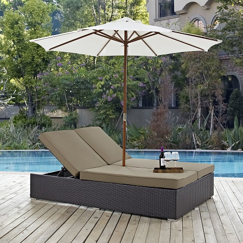 Convene Double Outdoor Patio Chaise in Espresso and Mocha EEI-2180-EXP-MOC-SET from Modway Furniture