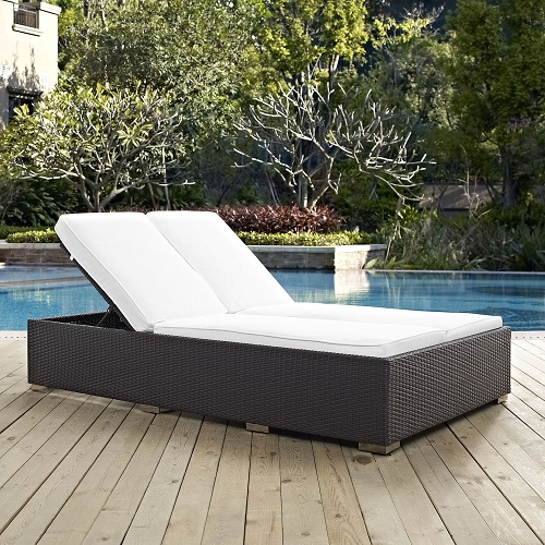 Convene Double Outdoor Patio Chaise in Espresso and White EEI-2177-EXP-WHI from Modway Furniture