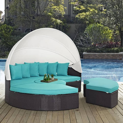 Quest Canopy Outdoor Patio Daybed In Espresso and Turquoise EEI-983-EXP-TRQ-SET from Modway Furniture