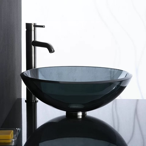 Charcoal Transparent Glass Vessel Sink GV101CHA from Ryvyr