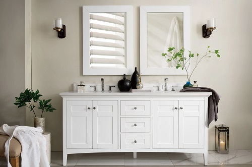 """Palisades 72"""" Double Bathroom Vanity in Bright White 572-V7-BW from James Martin Furniture"""