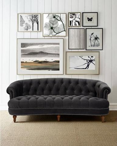 La Rosa Black Tufted Velvet Sofa 2525-3-860 from Jennifer Taylor