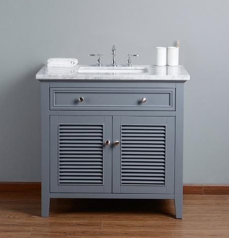 "Genevieve 36"" Slate Gray Single Vanity Cabinet With Shutter Double Doors HD-1300G-36-CR from Stufurhome"