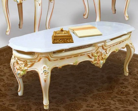 French And Victorian Inspired Coffee Table with marble Top 116AM from PolRey