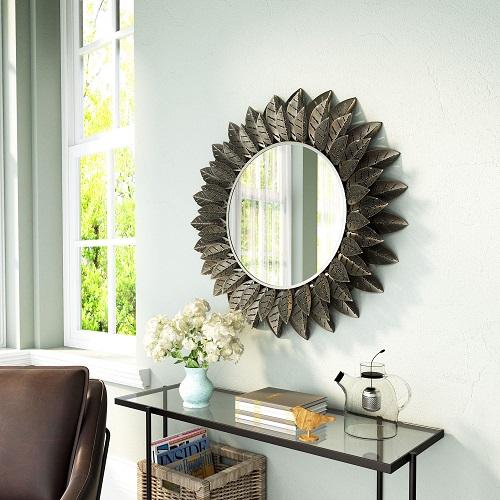 Leaf Round Mirror A12216 in Black from Zuo Modern