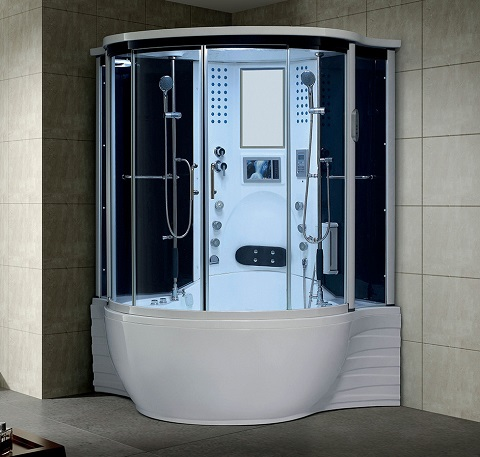 Florence Computerized Steam Shower Massage Bathtub in White 110 from Maya