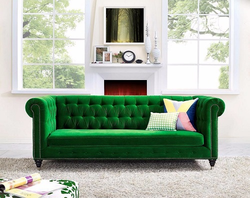 If you don't want to overwhelm your space, choosing one bold, green accent can work just as well (by TOV Furniture)