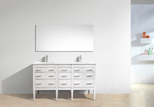 "Eiffel 60"" Double Sink High Gloss White Bathroom Vanity W/ Quartz Counter Top, E60-GW by KubeBath"