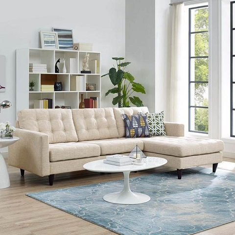 Empress Right Facing Upholstered Sectional Sofa EEI-1416-BEI from Modway Furniture