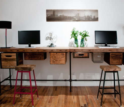 Desks don't just belong in formal office settings. (By UrbanWood Goods)