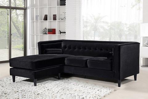 Taylor Black Velvet Reversible Sectional from Meridian Furniture
