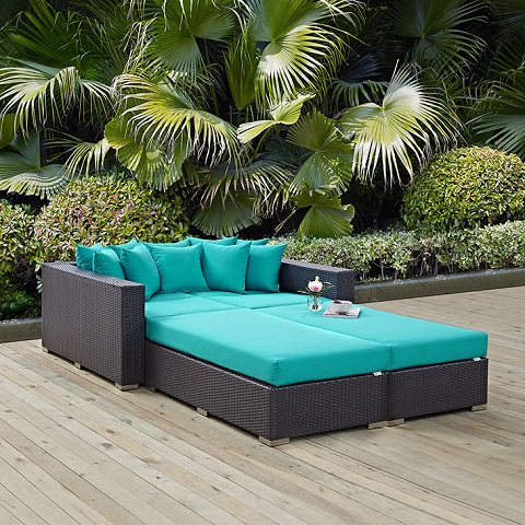 Convene Four Piece Outdoor Patio Daybed EEI-2160-EXP-TRQ-SET from Modway Furniture
