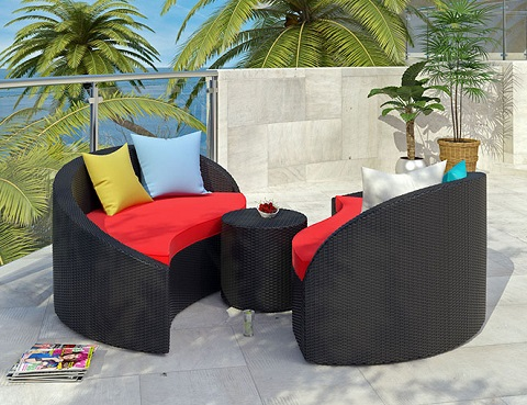 Magatama Three Piece Outdoor Patio Chaise EEI-727-EXP-RED-SET from Modway Furniture