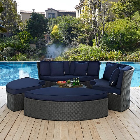 Sojourn Outdoor Patio Daybed EEI-1984-CHC-NAV-SET from Modway Furniture