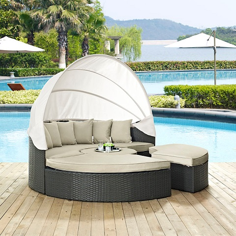 Sojourn Outdoor Patio Daybed EEI-1986-CHC-BEI-SET from Modway Furniture
