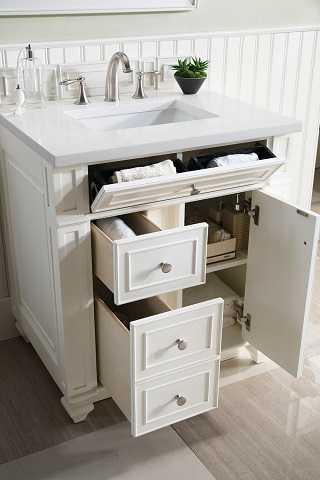 "Bristol 30"" Single Bathroom Vanity in Cottage White 157-V30-CWH-SW from James Martin Furniture"