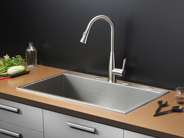 Ruvati Overmount 16 Gauge Single Bowl Kitchen Sink RVH8001
