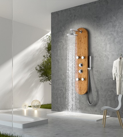 "Crane 52"" Full Body Shower Panel System With Heavy Rain Shower and Spray Wand in Natural Bamboo SP-AZ061 from Anzzi"
