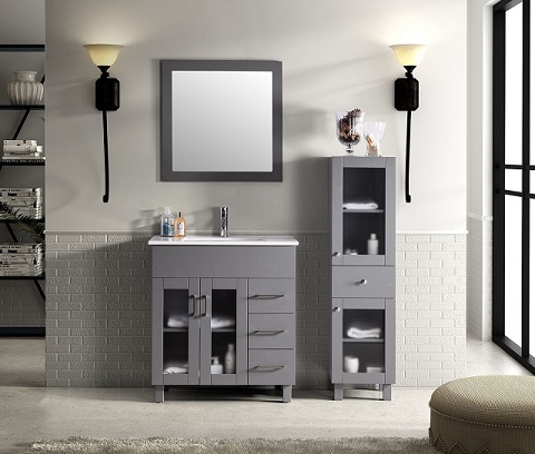 "Nova 32"" Gray Bathroom Vanity Cabinet, Mirror, And Side Cabinet 31321529-32G-CB-FS-SC from Deluxe Vanity"