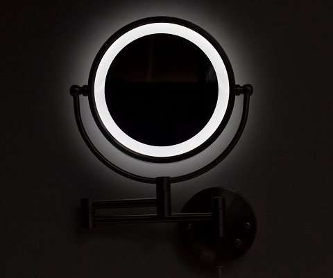 Round Brass LED Wall Mount Magnifying Mirror AI-20275 from American Imaginations