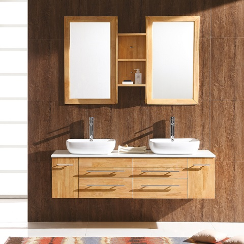 "Stella Bellezza 59"" Natural Wood Modern Double Vessel Bathroom Vanity FVN6119NW from Fresca"