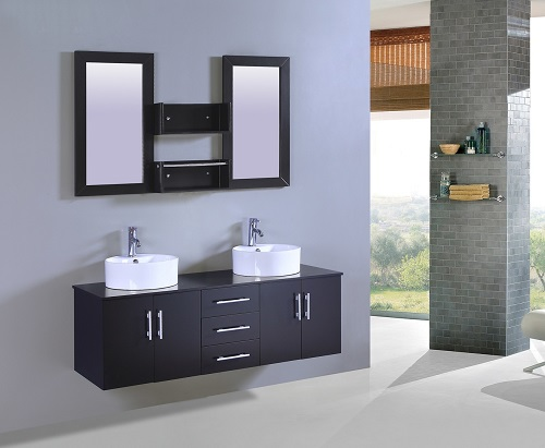 """Wall Mount 60"""" Double Sink Bathroom Vanity with Storage Mirror WT9011 from Legion Furniture"""