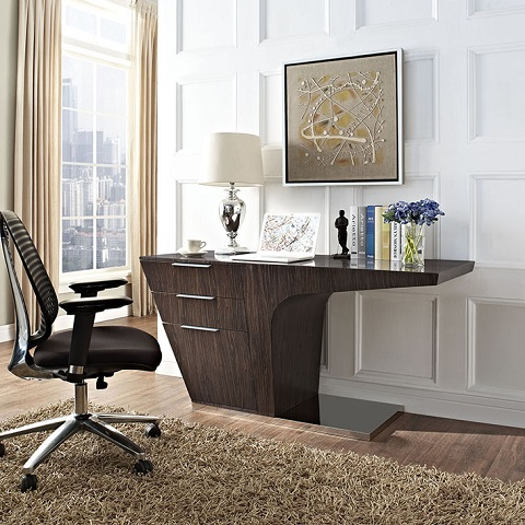 Warp Office Desk In Walnut EEI-1188-WAL from Modway Furniture