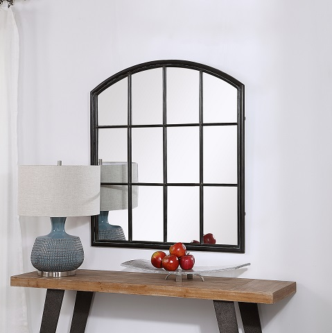 Lyda Aged Black Arch Mirror 09484 with Freddy Console from Uttermost
