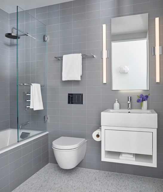 The best things for a small bathroom's style and storage are the same: scaled down fixtures mounted to the wall (by Darci Hether New York)