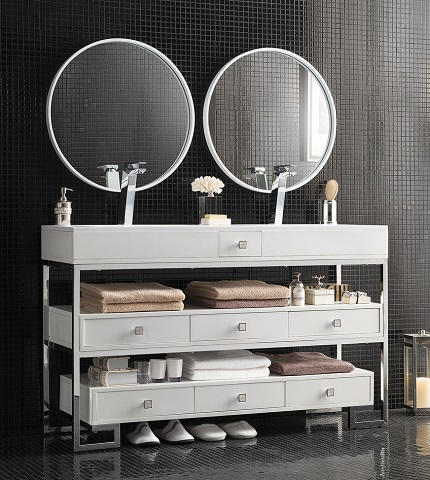 "Bel Air 59"" Double Bathroom Vanity In White and Chrome 356-V59D-CHR from James Martin Furniture"