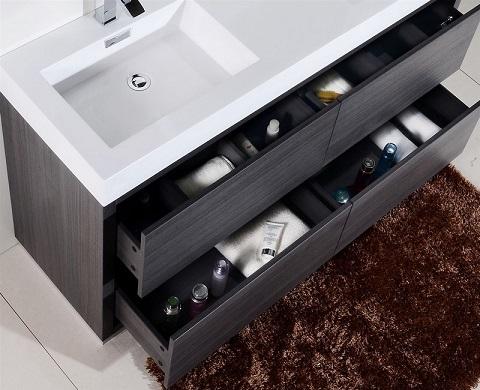 """Bliss 60"""" Double Sink Gray Oak Bathroom Vanity FMB60D-GO from KubeBath"""