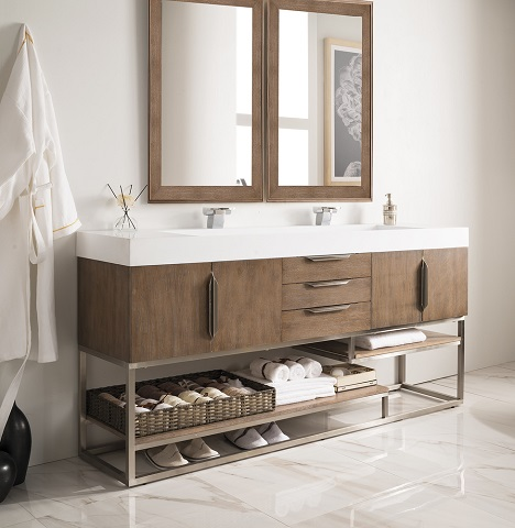 "Columbia 72"" Double Bathroom Vanity in Latte Oak 388-V72-LTO-A from James Martin Furniture"