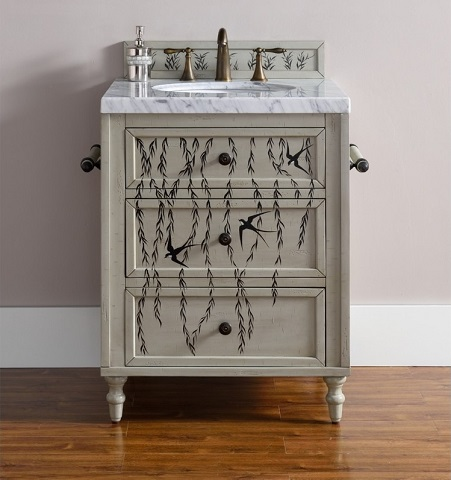 "Copper Cove 26"" Single Hand Painted Bathroom Vanity 300-V26-HP01 from James Martin Furniture"