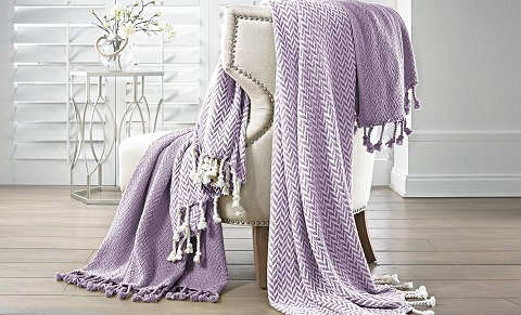 Cotton Throws Monacco Lavender, 5CTNTRWM-LVR-ST by Amrapur