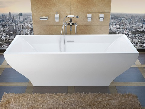 Freestanding One Piece Soaker Tub With Center Drain, VZ3271G by Venzi