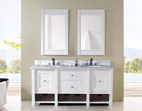 "Madison 72"" Double Bathroom Vanity Cabinet in Cottage White 800-V72-CWH from James Martin"