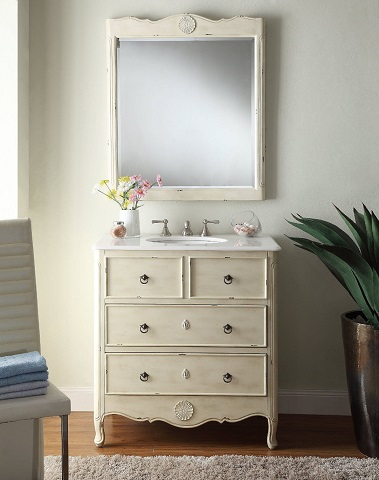 "Provence 34"" Single Bathroom Vanity with MIrror MOD081WP-M from Modetti"