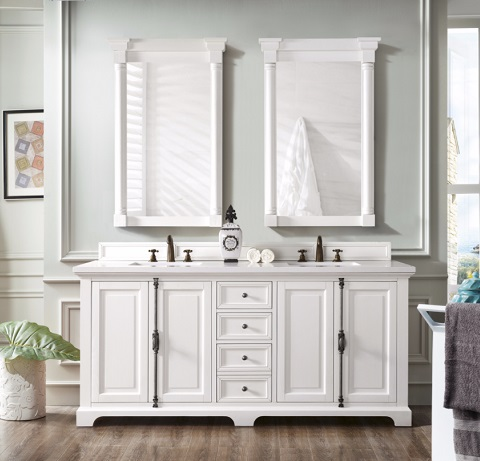 "Providence 72"" Double Bathroom Vanity in Cottage White 238-105-V72-CWH from James Martin Furniture"