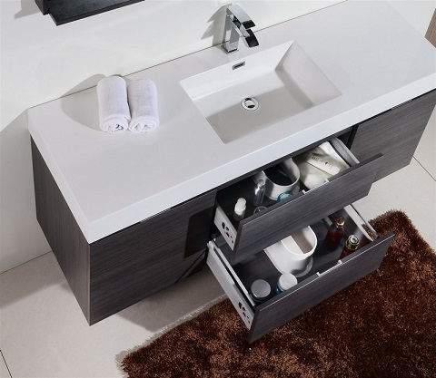 Wall Mount Single Sink Modern Bathroom Vanity, BSL60S-HGGO by KubeBath