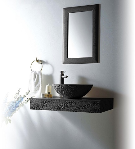 "Rome 36"" Single Vessel Sink Wall Mount Blue Stone Bathroom Vanity Set Rome-36B from MTD"