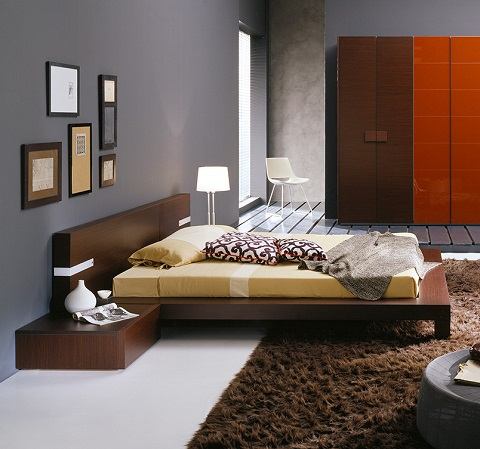 Wenge Queen Sized Bed with Built In Lights T2666BBA53206 from Rossetto