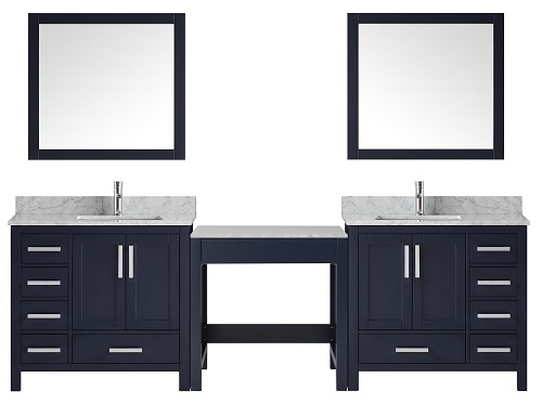 """Jacques 102"""" Navy Blue Double Vanity Set with Make-Up Table LJ34221023EDSM34 from Lexora"""
