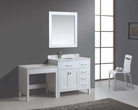 "London Stanmark 36"" Single Vanity Set with One Make-Up Table DEC076D-W_ MUT-W from Design Element"